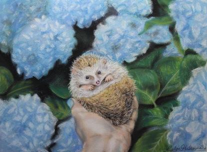 """Amelia Hedgehog"", soft pastel on paper, 9"" x 12"""