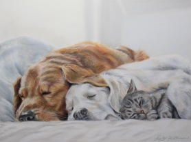 """Kiko, Watson, & Harry"", soft pastel on paper, 12"" x 16"""