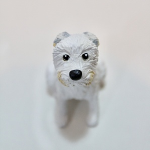 """Little White Dog"", polymer clay and acrylics, 2.5"" x 1"" x 1"""