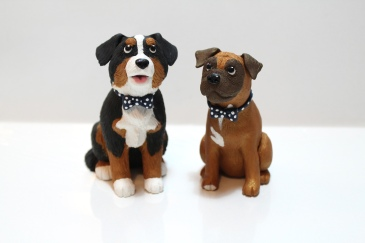 """Alfie & Henry"", polymer clay and acrylics, each 4.5"" x 2"" x 2"""