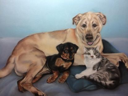 """Kayla, Kassidy, & Kerrigan"", soft pastel on paper, 12"" x 16"""